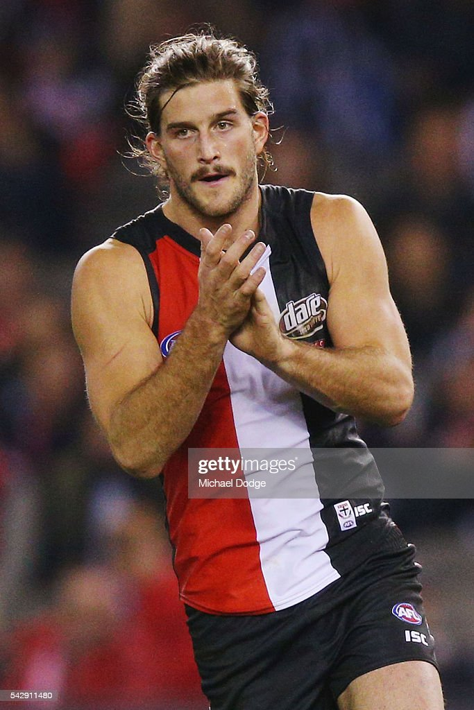 Josh Bruce of the Saints celebrates a goal during the round 14 AFL match between the St Kilda Saints and the Geelong Cats at Etihad Stadium on June 25, 2016 in Melbourne, Australia.