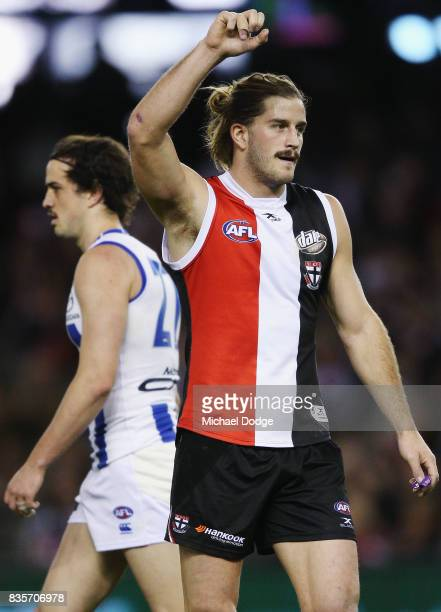 Josh Bruce of the Saints celebrates a goal during the round 22 AFL match between the St Kilda Saints and the North Melbourne Kangaroos at Etihad...