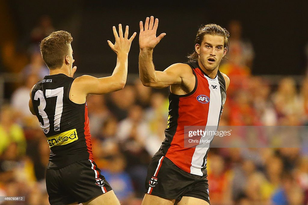 Josh Bruce of the Saints celebrates a goal during the round two AFL match between the Gold Coast Suns and the St Kilda Saints at Metricon Stadium on April 11, 2015 in Gold Coast, Australia.