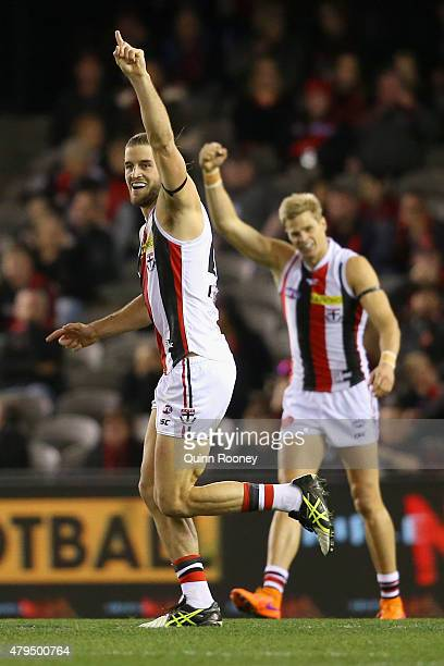 Josh Bruce of the Saints celebrates after kicking a goal during the round 14 AFL match between the Essendon Bombers and the St Kilda Saints at Etihad...