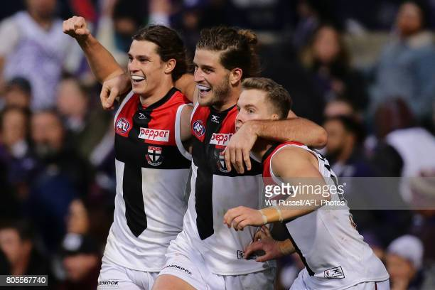 Josh Bruce of the Saints celebrates after scoring a goal during the round 15 AFL match between the Fremantle Dockers and the St Kilda Saints at...