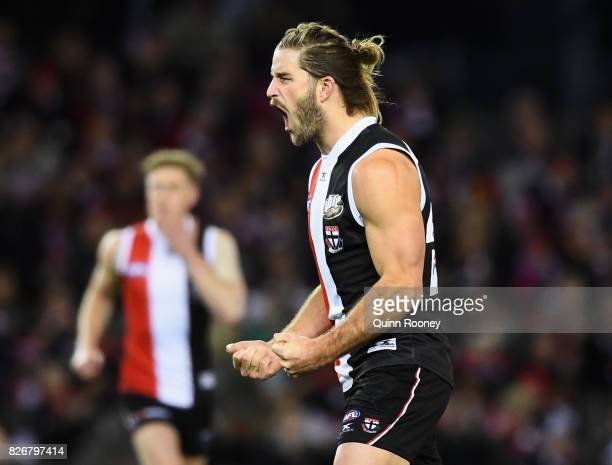 Josh Bruce of the Saints celebrates kicking a goal during the round 20 AFL match between the St Kilda Saints and the West Coast Eagles at Etihad...