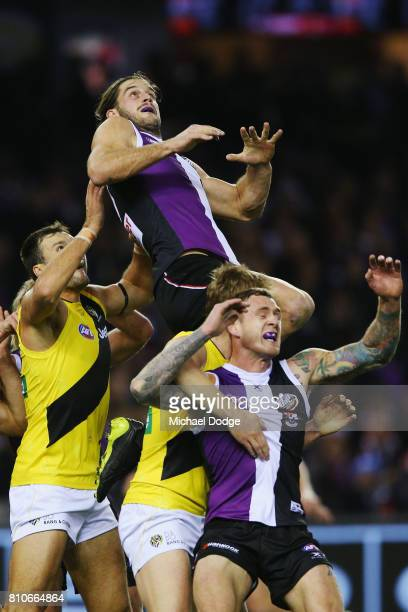 Josh Bruce of the Saints competes for the ball during the round 16 AFL match between the St Kilda Saints and the Richmond Tigers at Etihad Stadium on...