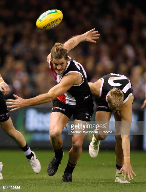 Josh Bruce of the Saints in action during the 2017 AFL round 17 match between the St Kilda Saints and the Essendon Bombers at Etihad Stadium on July...