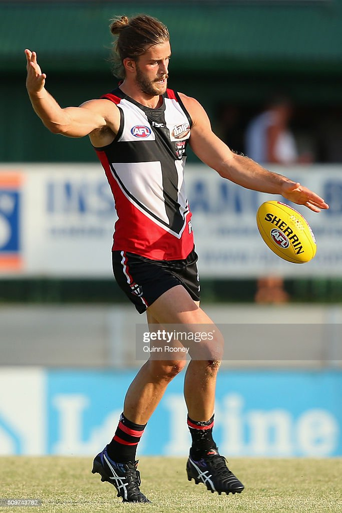 Josh Bruce of the Saints kicks during the St Kilda Saints AFL Intra-Club Match at Trevor Barker Beach Oval on February 12, 2016 in Melbourne, Australia.