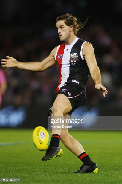 Josh Bruce of the Saints kicks the ball during the round 14 AFL match between the St Kilda Saints and the Gold Coast Suns at Etihad Stadium on June...