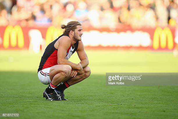 Josh Bruce of the Saints looks dejected after defeat during the round four AFL match between the Hawthorn Hawks and the St Kilda Saints at Aurora...