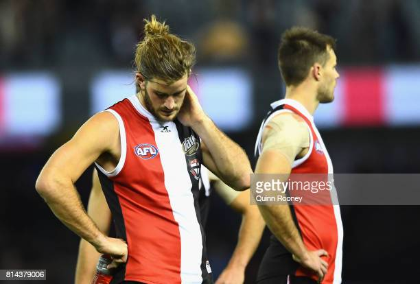 Josh Bruce of the Saints looks dejected after losing the round 17 AFL match between the St Kilda Saints and the Essendon Bombers at Etihad Stadium on...