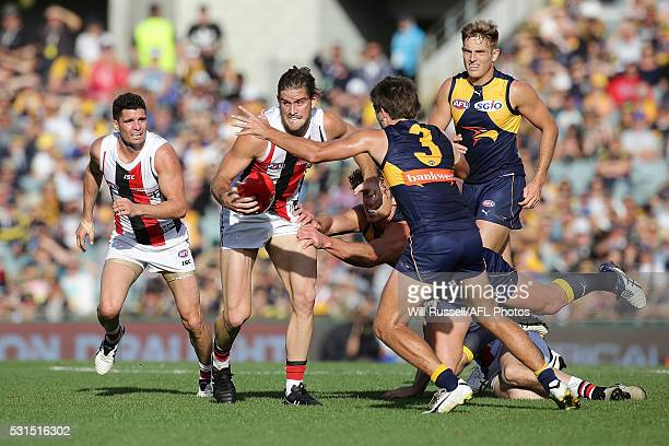 Josh Bruce of the Saints looks to pass the ball during the round eight AFL match between the West Coast Eagles and the St Kilda Saints at Domain...