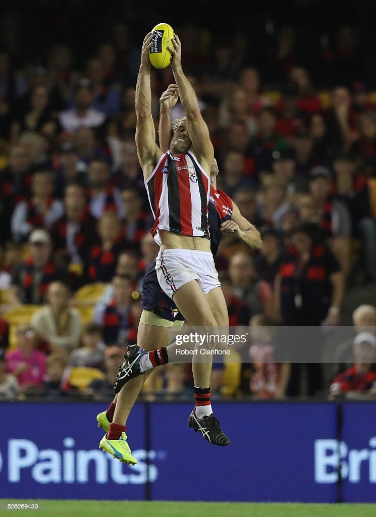 Josh Bruce of the Saints marks during the round six AFL match between the Melbourne Demons and the St Kilda Saints at Etihad Stadium on April 30, 2016 in Melbourne, Australia.