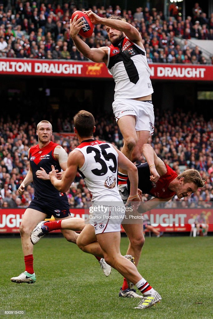 Josh Bruce of the Saints marks the ball during the round 21 AFL match between the Melbourne Demons and the St Kilda Saints at Melbourne Cricket Ground on August 13, 2017 in Melbourne, Australia.