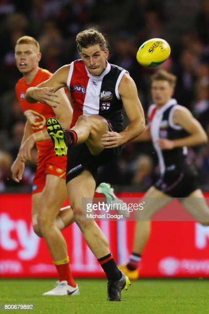 Josh Bruce of the Saints sprays a kick during the round 14 AFL match between the St Kilda Saints and the Gold Coast Suns at Etihad Stadium on June 25...