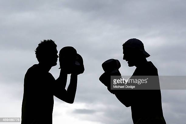 Josh Bruce punches the mitts held by Sam Gilbert during a St Kilda Saints AFL preseason training session at Casey Fields on November 24 2014 in...