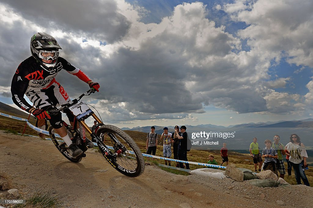 Josh Bryceland of Great Britain competes in the men's downhill qualifying round at the UCI Mountain Bike World Cup on June 8, 2013 in Fort William, Scotland.