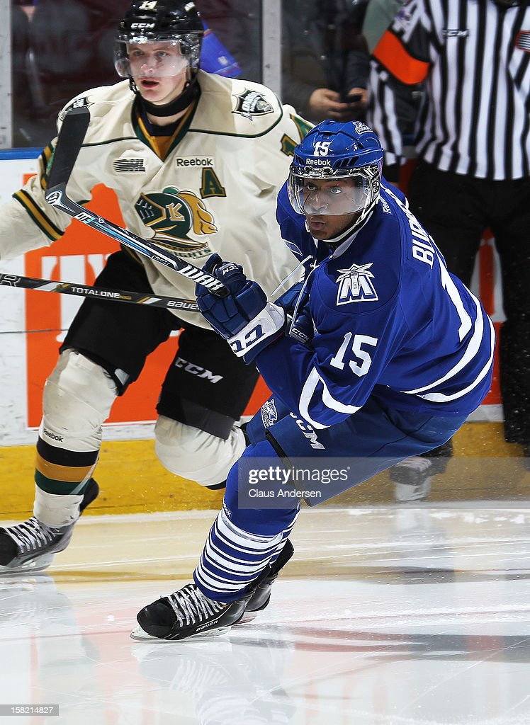 Josh Burnside #15 of the Mississauga Steelheads skates in an OHL game against the London Knights on December 9, 2012 at the Budweiser Gardens in London, Ontario, Canada. The Knights defeated the Steelheads 5-2 and tied their franchise record of 18 straight wins.