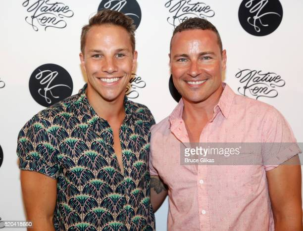 Josh Buscher and Bryan West pose at the Native Ken Eyewear NYC Launch Party at Native Ken on July 20 2017 in New York City