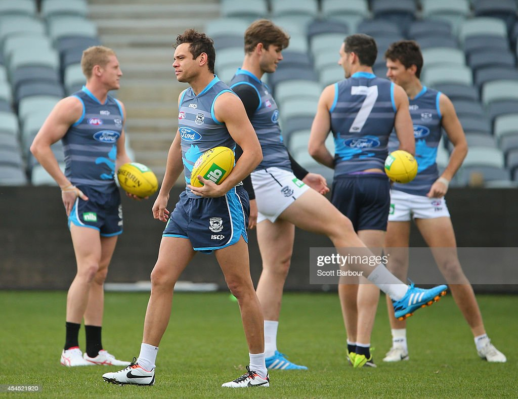 Josh Caddy, Steven Motlop, Tom Hawkins and Harry Taylor look on during a Geelong Cats AFL training session at Simonds Stadium on September 3, 2014 in Geelong, Australia.