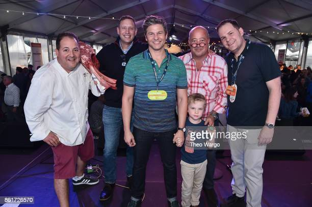 Josh Capon Pat LaFrieda David Burtka Andrew Zimmern Mark Pastore and Gideon BurtkaHarris stand onstage at the Food Network Cooking Channel New York...