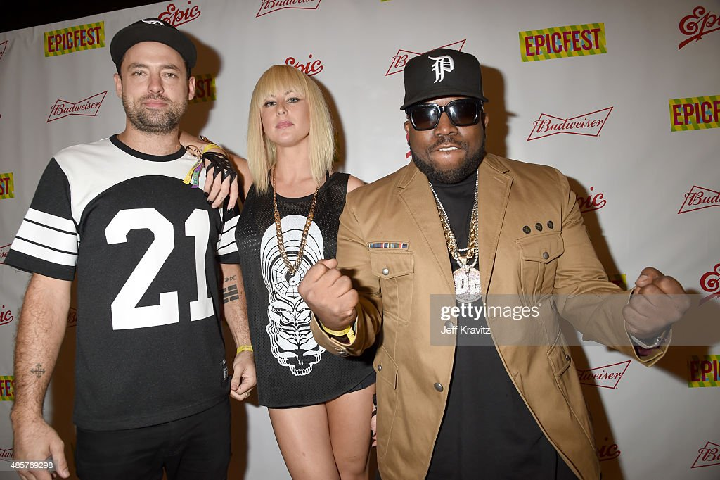 Josh Carter and Sarah Barthel of Phantogram pose with rapper Big Boi at EpicFest presented by Chairman and CEO of Epic Records LA Reid at Sony...