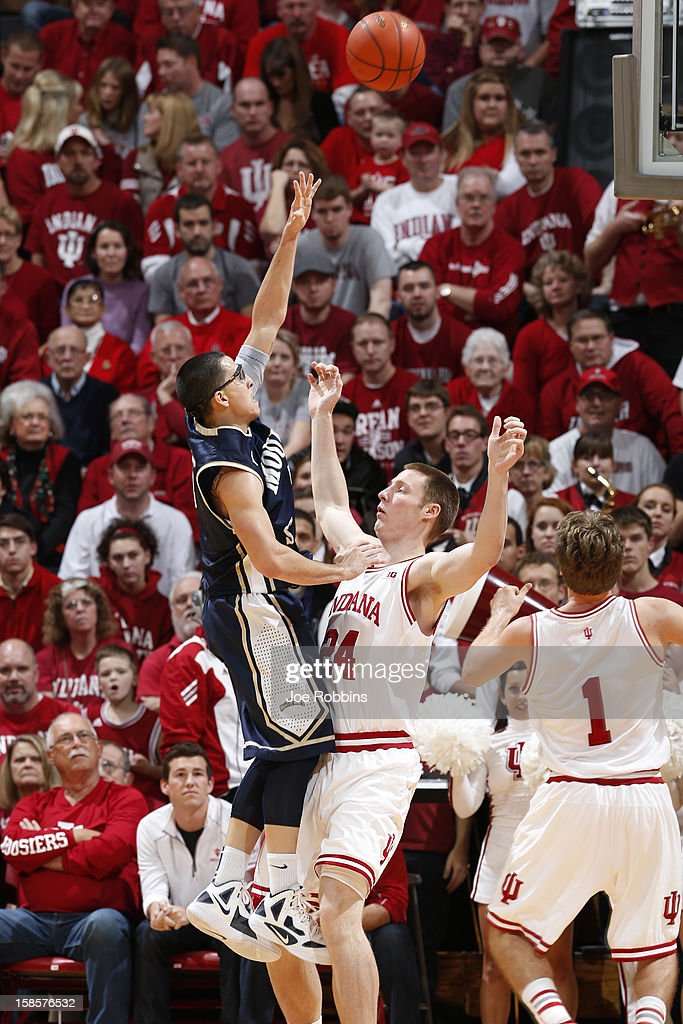 Josh Castellanos #5 of the Mount St. Mary's Mountaineers drives to the basket against Jeff Howard #24 of the Indiana Hoosiers during the game at Assembly Hall on December 19, 2012 in Bloomington, Indiana. The Hoosiers won 93-54.