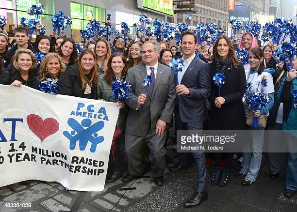 Josh Charles Christina Cuomo and Jim Hmurovich attend 'The Big Pinwheel Garden' In NYC For Child Abuse Prevention Month at Times Square Broadway...