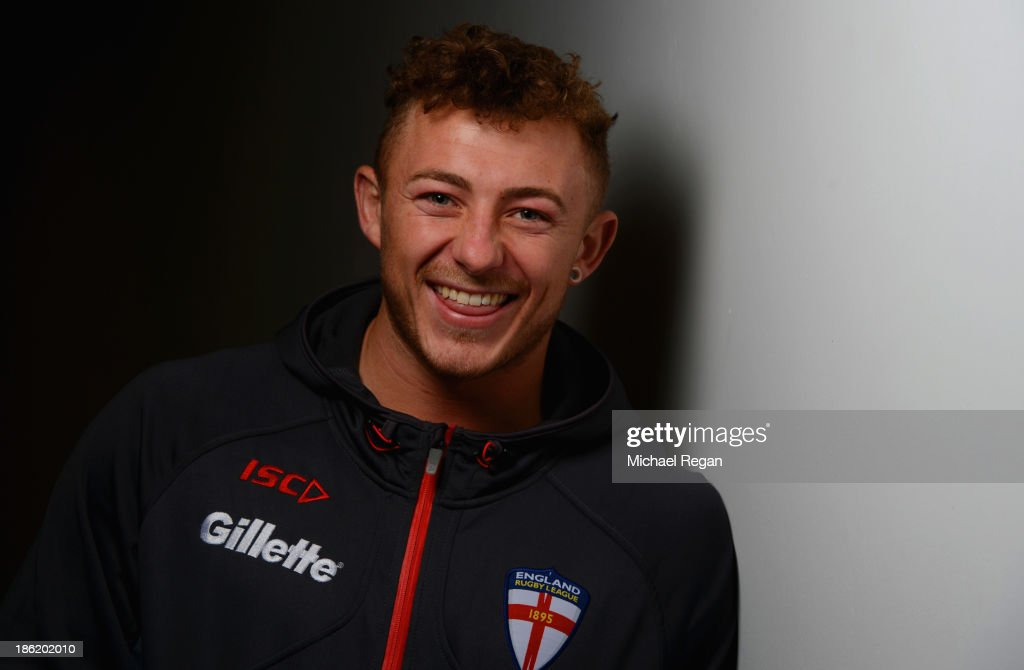 Josh Charnley of England poses during the England media session for the Rugby League World Cup on October 29, 2013 in Loughborough, England.