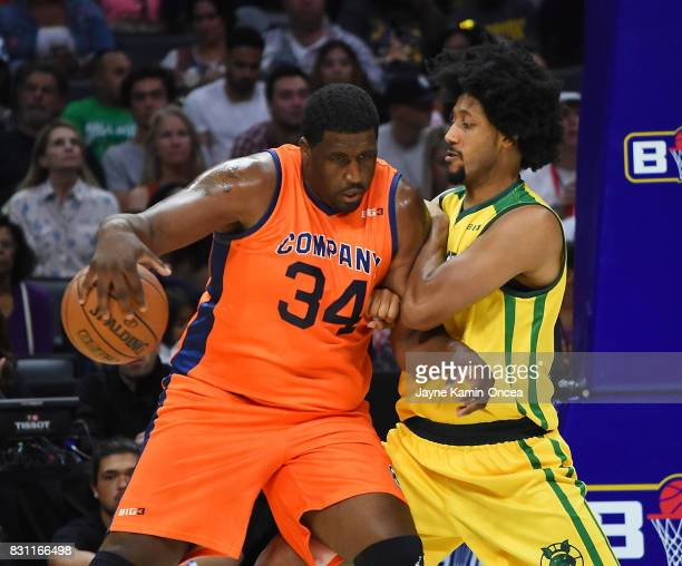 Josh Childress of Ball Hogs guards Mike Sweetney of 3's Company during the BIG3 game at Staples Center on August 13 2017 in Los Angeles California
