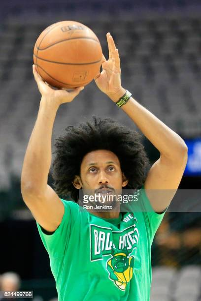 Josh Childress of the Ball Hogs warms up before week six of the BIG3 three on three basketball league at American Airlines Center on July 30 2017 in...