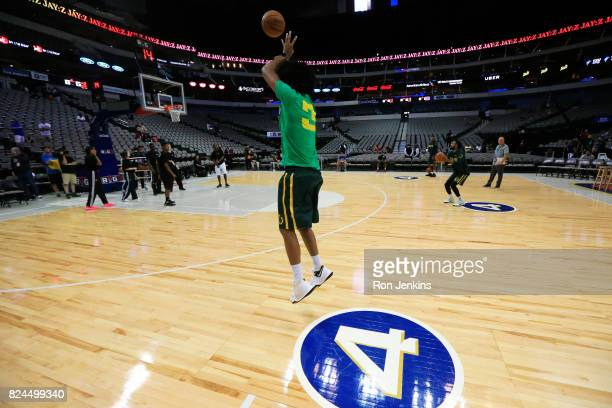 Josh Childress of the Ball Hogs warms up from the four point circle before week six of the BIG3 three on three basketball league at American Airlines...