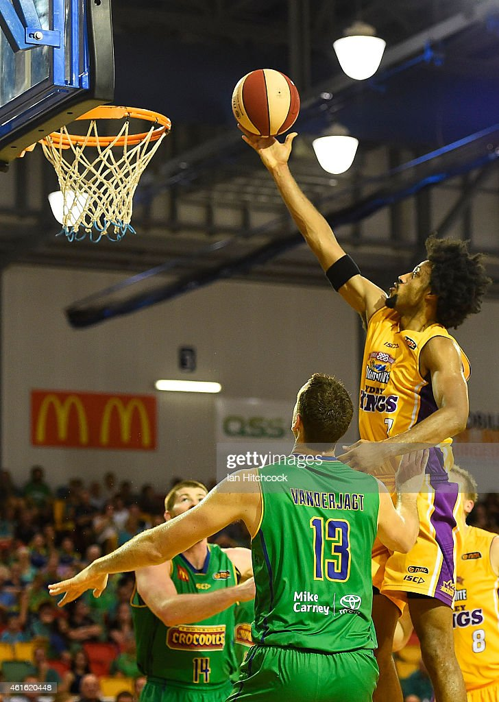 Josh Childress of the Kings attempts a layup during the round 15 NBL match between the Townsville Crocodiles and Sydney Kings at Townsville RSL Stadium on January 16, 2015 in Townsville, Australia.