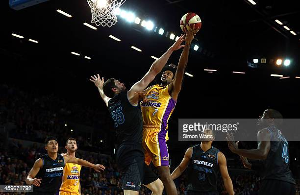 Josh Childress of the Kings shoots over Alex Pledger of the Breakers during the round eight NBL match between New Zealand Breakers and Sydney Kings...