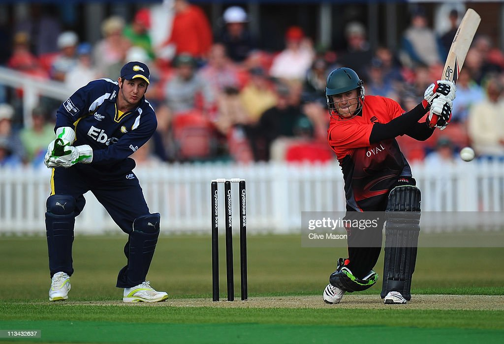 Josh Cobb of Leicestershire in action on his way to a half century watched by Phil Mustard of Durham during the Clydesdale Bank 40 match between...