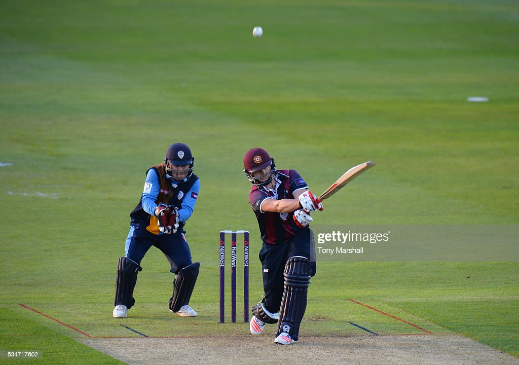 Josh Cobb of Northamptonshire bats during the NatWest T20 Blast match between Northamptonshire and Derbyshire at The County Ground on May 27, 2016 in Northampton, England.