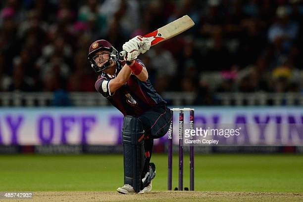 Josh Cobb of Northamptonshire hits out for six runs during the NatWest T20 Blast Final between Lancashire Lighting and Northamptonshire Steelbacks at...