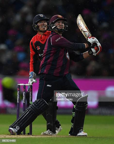Josh Cobb of Northamptonshire hits out for six runs during the NatWest t20 Blast Final between Northamptonshire and Durham at Edgbaston on August 20...