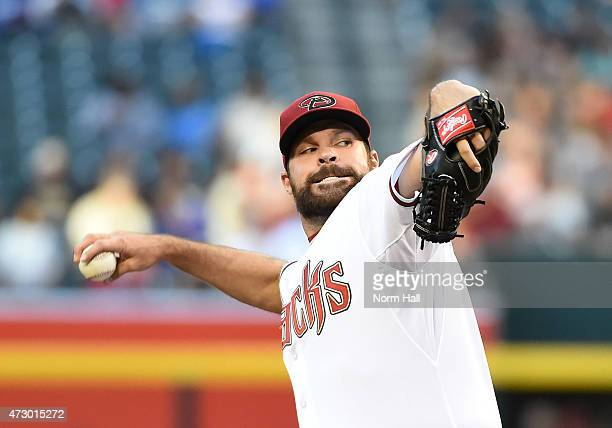 Josh Collmenter of the Arizona Diamondbacks delivers a first inning pitch against the Washington Nationals at Chase Field on May 11 2015 in Phoenix...