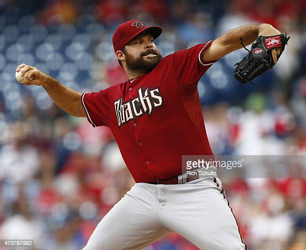 Josh Collmenter of the Arizona Diamondbacks delivers a pitch against the Philadelphia Phillies during the second inning of a game at Citizens Bank...
