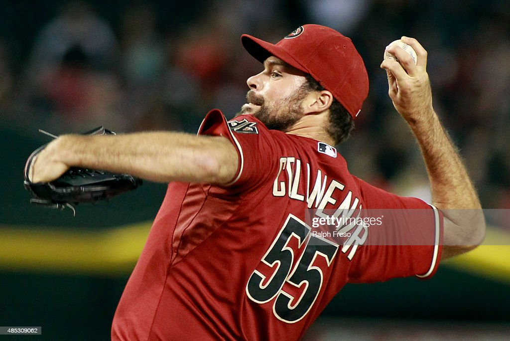 Josh Collmenter #55 of the Arizona Diamondbacks delivers a pitch against the St Louis Cardinals during the ninth inning of a MLB game at Chase Field on August 26, 2015 in Phoenix, Arizona. The Cardinals defeated the Diamondbacks 3-1.
