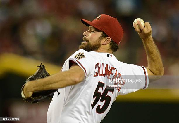 Josh Collmenter of the Arizona Diamondbacks delivers a second inning pitch against the Philadelphia Phillies at Chase Field on April 25 2014 in...