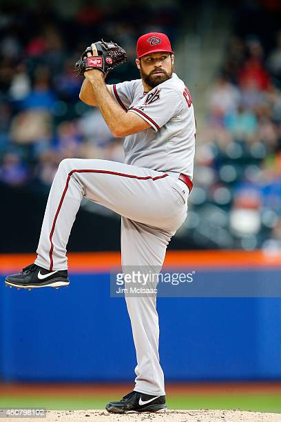 Josh Collmenter of the Arizona Diamondbacks in action against the New York Mets at Citi Field on May 24 2014 in the Flushing neighborhood of the...
