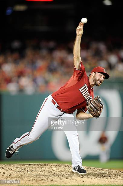 Josh Collmenter of the Arizona Diamondbacks pitches against the Washington Nationals at Nationals Park on June 26 2013 in Washington DC