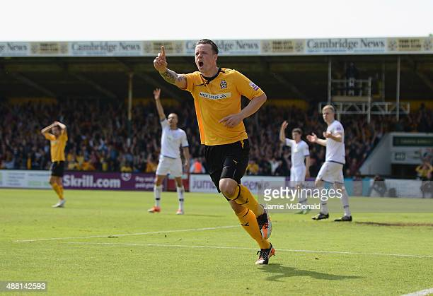 Josh Coulson of Cambride United celebrates his goal but is dissaloud for offside during the Skrill Conference Premier PlayOffs SemiFinal match...