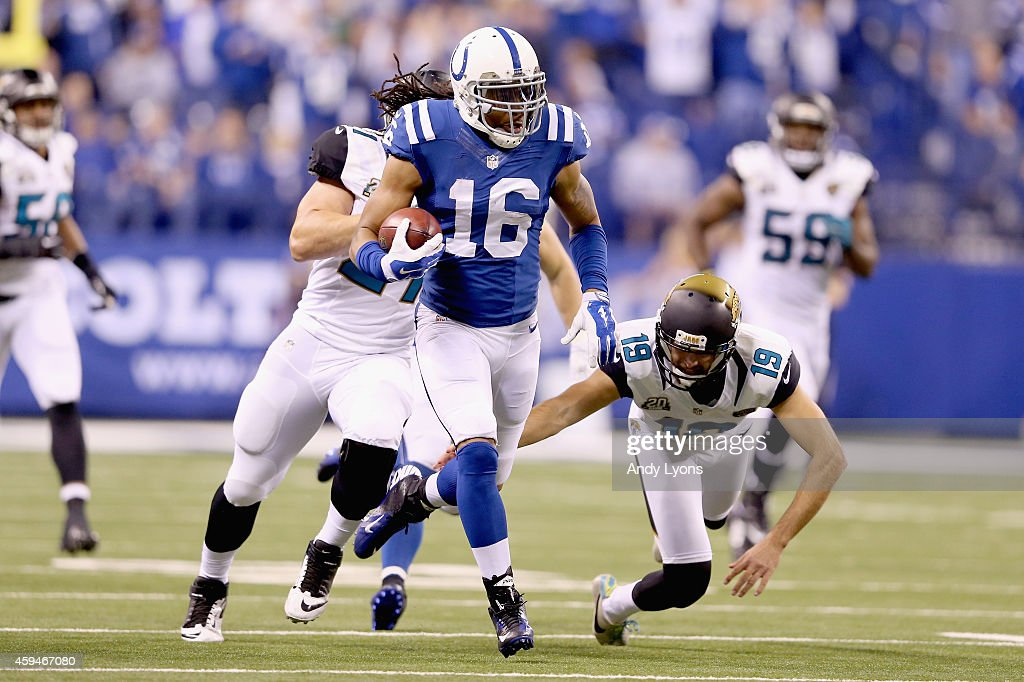 Josh Cribbs of the Indianapolis Colts runs with the ball during the game against the Jacksonville Jaguars at Lucas Oil Stadium on November 23 2014 in...