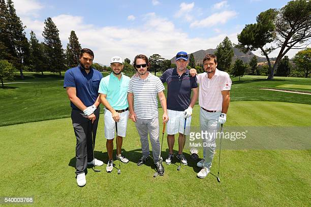 Josh Crook Bert Brunner Patrick Carson Chad Hawkins and Bailey Chase of the Wing A Prayer team participate in the SAGAFTRA Foundation LA Golf Classic...