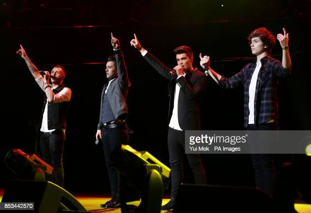 Josh Cuthbert George Shelley Jaymi Hensley and JJ Hamblett of Union J performing at the Rays of Sunshine Concert held in aid of the Rays of Sunshine...