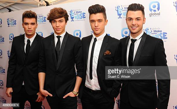 Josh Cuthbert George Shelley JJ Hamblett and Jaymi Hensley from 'Union J' attend the Global Make Some Noise event at Supernova on November 20 2014 in...
