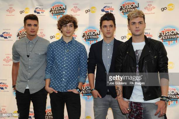 Josh Cuthbert George Shelley JJ Hamblett and Jaymi Hensley of Union J pose for a photo before performing during day one of the Fusion Festival at...