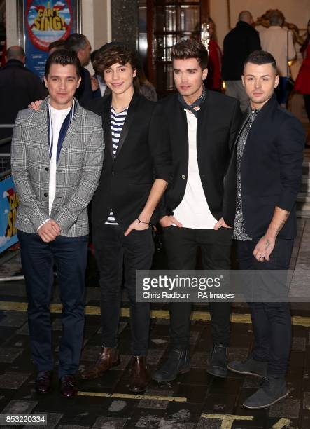 Josh Cuthbert Jaymi Hensley JJ Hamblett and George Shelley of Union J attending the opening night of I Can't Sing The X Factor Musical
