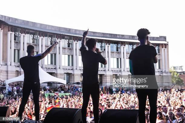 Josh Cuthbert JJ Hamblett and Jaymi Hensley of Union J Performs on stage at Bristol Pride on July 8 2017 in Bristol England