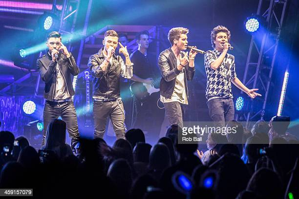 Josh Cuthbert JJ Hamblett Jaymi Hensley and George Shelley of Union J performs at Hammersmith Apollo on December 23 2013 in London England